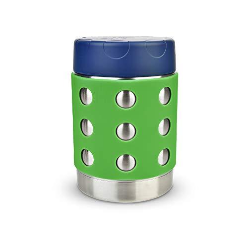 LunchBots Thermal 350 ml Edelstahl Schüssel – Isolierter Nahrungsmittelbehälter hält 6 Stunden lang heiß oder 12 Stunden lang kalt – Auslaufsicherer Suppenbehälter – Dunkelblaue/Grün