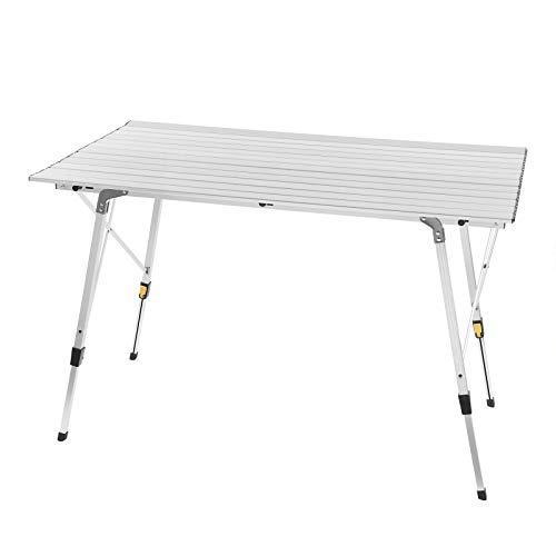 WOLTU Alu Campingtisch klappbar Falttisch mit Tragetasche, Aluminium Campingtisch Reisetisch für 4-6 Personen 120 * 68.5cm, Höhenverstellbar Klapptisch für Camping Garten Balkon