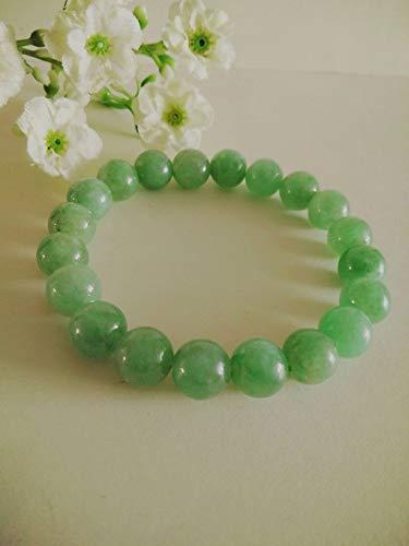 LOVEKUSH Beautiful AAA++ Quality 9MM Genuine Grade A Green Jade Stretch Bracelet, Gemstone Bracelet, Gift Ideas. Unisex. Christmas, Valentine's, Mother's Day.