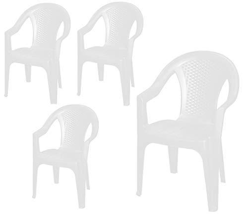 Stapelbarer Gartenstuhl in weiß - Monoblock in Rattan Optik aus Kunststoff - Stapelstuhl Kunststoffstuhl (4 Stück - weiß)