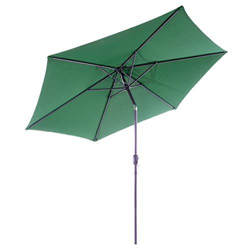 Nexos GM35106 Sonnenschirm Ø 290 cm Stahl Gestell UV Schutz UPF 50+ Gartenschirm Marktschirm mit Kurbel, neigbar Schirmstoff Grün wasserabweisend Höhe 230 cm,