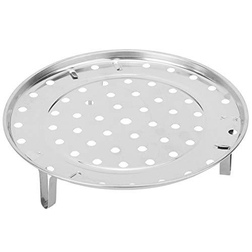 Vipxyc Runder Dampfbehälter Tablett Regal Edelstahl Dampfwanne Erhöhendes Halterungsdesign Aus dickem Edelstahl(Large Diameter 26cm)