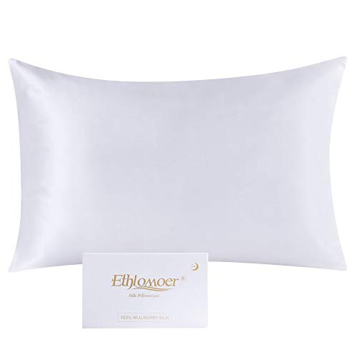Ethlomoer Kissenbezug aus 100% natürlicher Reiner Seide für Haar und Haut, beidseitig 19 Momme, 600 Fadenzahl, Design mit verstecktem Reißverschluss, 1 Stück 40x60cm Weiß