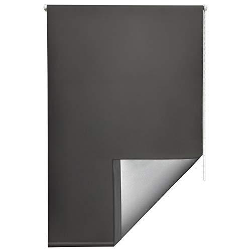 Sol Royal Thermorollo SolReflect T42 Verdunkelungsrollo 100x160 Klemmfix Rollos für Fenster ohne Bohren Silberbeschichtung Anthrazit