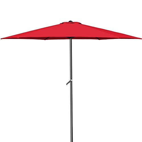 Deuba® Kurbelsonnenschirm Aluminium Ø300cm mit Kurbel + Dachhaube mit Neigevorrichtung rot - Sonnenschirm Marktschirm Gartenschirm