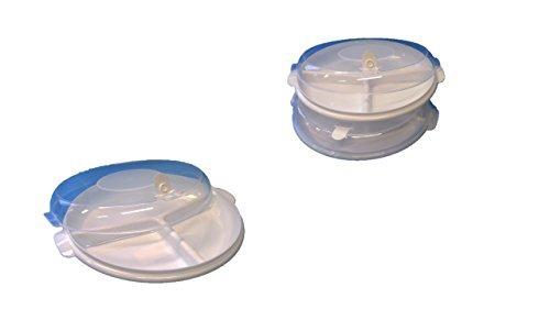Mikrowellenteller Set 6-teilig (3 Menüteller mit drei Unterteilungen, 3 Deckel mit Ventil, spülmaschinengeeignet, zum Einfrieren