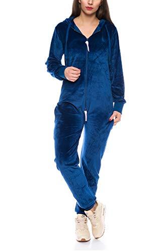 Crazy Age Damen Jumpsuit aus Samt (Nicki, Velvet) Wohlfühlen mit Style. Elegant, Kuschelig, Weich. Overall, Ganzkörperanzug, Jogging - Freizeit Anzug, Onesie (Navy, L)
