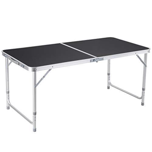 Homfa Campingtisch Klapptisch faltbar Gartentisch aus Aluminium Falttisch höhenverstellbar schwarz 120x60x55/60/70cm