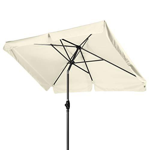 Derby Basic Lift NEO 210x140 – Kurbel Sonnenschirm ideal für den Balkon – Höhenverstellbar – ca. 210x140 cm – Natur