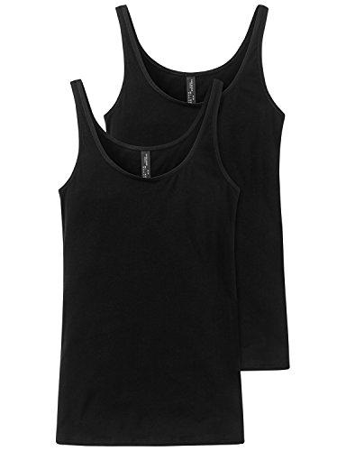 Schiesser Damen Essentials 2PACK Trägertop Unterhemd, Schwarz (schwarz 000), 48