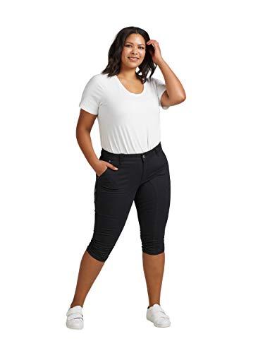 Zizzi Damen Capri Jeans 3/4 Caprihose mit Stretch Hose Große Größen -Schwarz-48