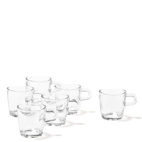Leonardo Loop Espressotasse, 6-er Set, 75 ml, spülmaschinengeeignet, hitzebeständiges Klarglas, 043363