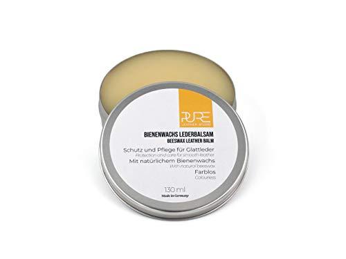 PURE Leather Studio Lederpflege mit natürlichem Bienenwachs 130 ml Creme Schutz und Pflege farbloses Lederfett für alle Glattlederarten
