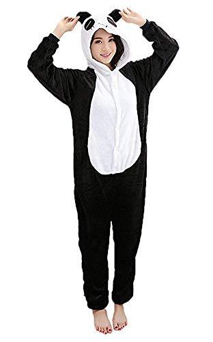 Mescara Einhorn Kostüm Pyjama Jumpsuit Cosplay Schalfanzug Festliche Anzug Flanell Tierkostüm Kartonkostüm Tierschalfanzug (M/EU36, Panda-2)