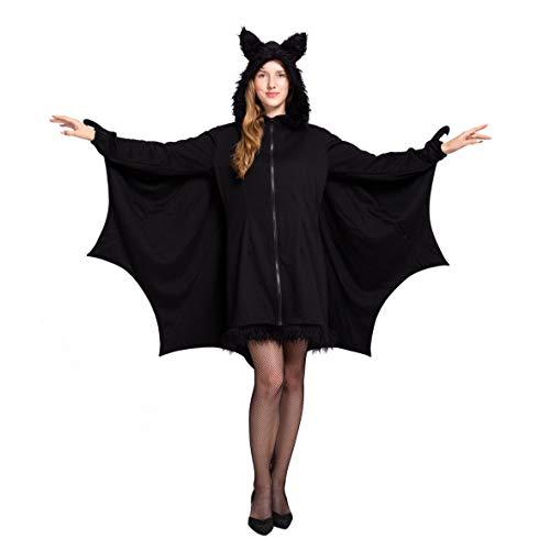 Spooktacular Creations Damen Schwarz Fledermaus Reißverschluss Hoodie Halloween Kostüm für Erwachsene (Large, Black)