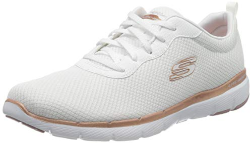 Skechers Damen Flex Appeal 3.0-first Insight Sneaker, White Mesh Rose Gold Trim, 39 EU