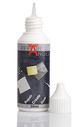 Repair Angel Textilkleber waschmaschinenfest transparent für Stoffe Leder Jeans Marise wasserfest Anti Rutsch noppen Leder Reparatur Set Kleber 50ml