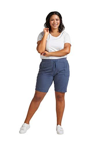 Zizzi Damen Sommer Shorts Loose Fit Kurze Hose Sommerhose , Farbe: Blau, Gr. 46-48 (M)