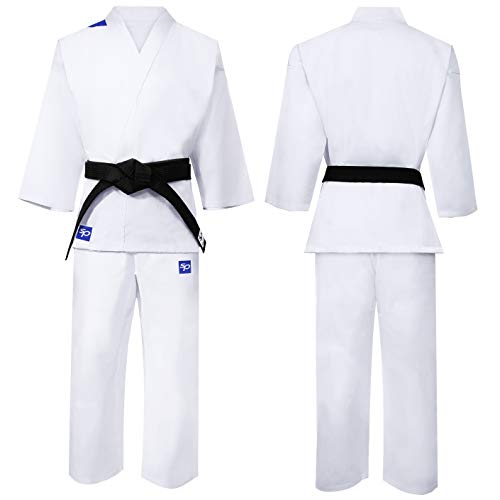 Starpro Karate Anzug Uniform Kit - Gut für MMA Martial Arts Karate Gi Professionelle Taekwondo Fight Kimono WKF | Weiß Baumwollstoff für Kinder Männer und Frauen kommen mit weiß Gürtel | 110-190 cm