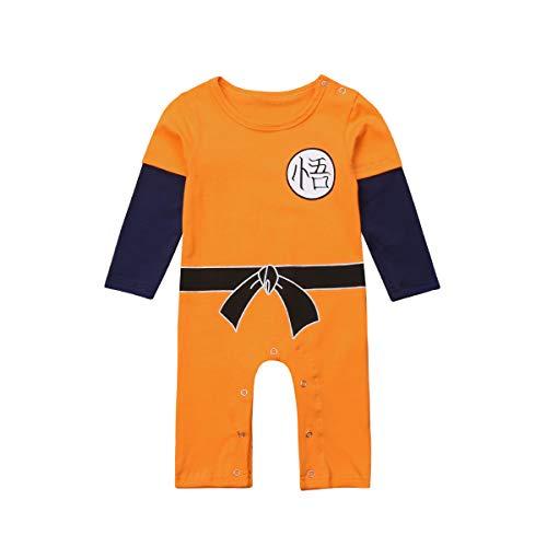 Dragon Ball Z Goku Design Baby Jungen Mädchen Bodys Strampler Cosplay Kostüm Goku-inspiriert Säugling Outfit Neugeborene Baumwolle Overall Kleidung (Orange, 6-12 Monate)