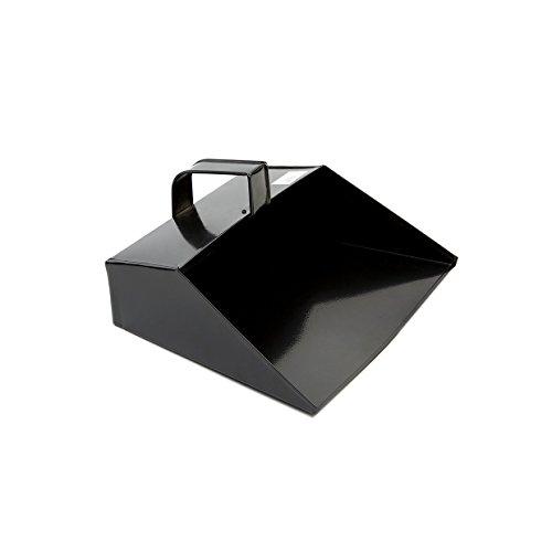 COTTAM ISH00003 Large Metal Cleaning Dustpan Scoop Große Metall Reinigung Schaufel - Heavy Duty mit Kapuze Staubwanne 279mm/11 Zoll mit Griff für Haushalt/Garten/Handel verwenden, Schwarz