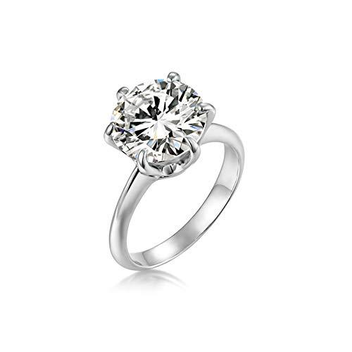 Ubestlove Fingerring Damen Silber Runden Siegelring Personalisiert Zirkonia Damen Ringe Größe 50
