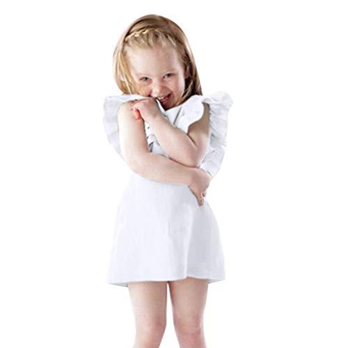REALIKE Kinder Baby Mädchen Kurze Kleid Rüschen Kleider Ärmellos Taste Mode Crossover Einfarbig Prinzessin Sommerkleid Urlaub Outfit Kleidung Kleinkind Baby Mädchen Kleid