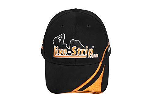 Live-Strip Baseball-Cap, schwarzes Basecap für Herren, Schirmmütze mit lustigem Spruch, Erotik Merchandise, aus 100% Baumwolle, Menge: 1 Stück