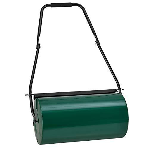Juskys Rasenwalze Fritz aus Metall mit Schmutzabweiser - befüllbar mit Wasser/Sand - 48l Füllvolumen – 60 kg Gewicht - 60 cm Breite