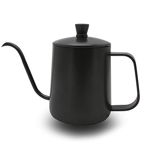 Kaffeekessel mit Deckel OneChois 350ml Edelstahl Kaffeekanne Teekanne Kaffee Kettle mit Schwanenhals Schmaler Auslauf Perfekt für Die Verwendung von Kaffeefiltern & Tee-Zubereitung (Black) (350ml)