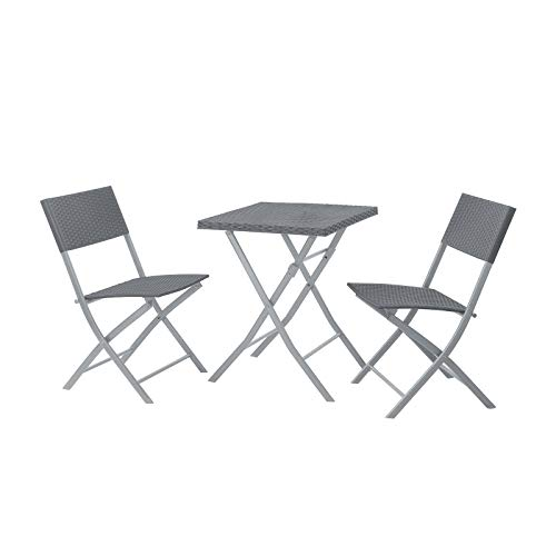 SVITA Polyrattan Bistro-Set 3er Set Balkonset Klappmöbel Stuhl Tisch Gartenmöbel Sitzgruppe Essgruppe Balkonmöbel grau