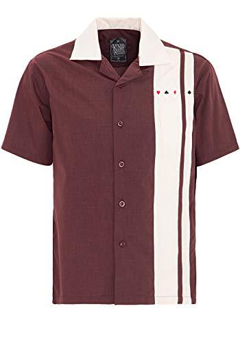 King Kerosin Herren Bowlinghemd Mit Kontrastierndem Einsatz Und Kragen Kurzarm Normal Unifarben Mit Farbeinsatz Abgesteppt