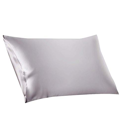 ElleSilk 100% Seide Kissenbezug, 22 Momme, Hochwertigste Maulbeerseide, Natürlicher Farbstoff, Anti Schlaffalte, 50 x 75 cm, Silber
