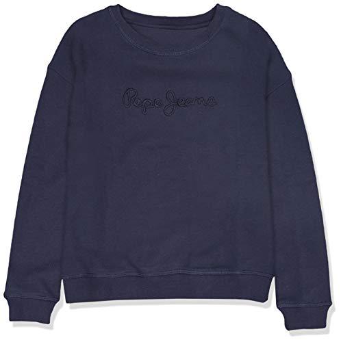 Pepe Jeans Mädchen Crew Neck Girls Sweatshirt, Blau (Navy 595), 8 Jahre (Herstellergröße: 8)