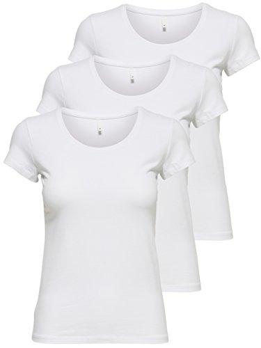 ONLY 3er Pack Damen T-Shirt schwarz oder weiß Kurzarm lang Basic Sommer T-Shirts XS S M L XL 15209153 (Weiß, L)