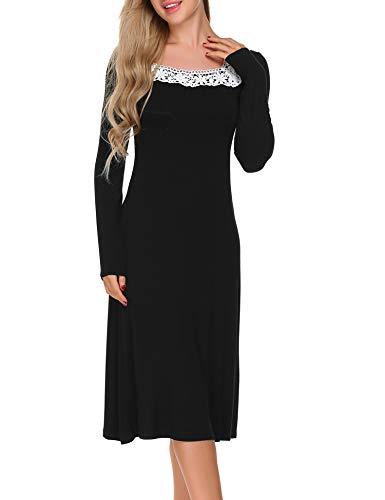 ADOME Damen Nachthemd Sleepwear Langarm A-Linie Casual Nachtkleid Nachtwäsche lang Spitze Ausschnitt Herbst Unterkleid, Schwarz, M