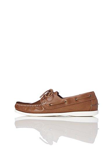 find. Amz038_leather Herren Bootsschuhe, Braun (Camel/Weiß), 45 EU