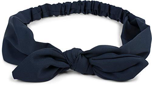 styleBREAKER Damen Haarband einfarbig mit Schleife und Gummizug, Stirnband, Headband, Pinup, Rockabilly, Haarschmuck 04026035, Farbe:Dunkelblau