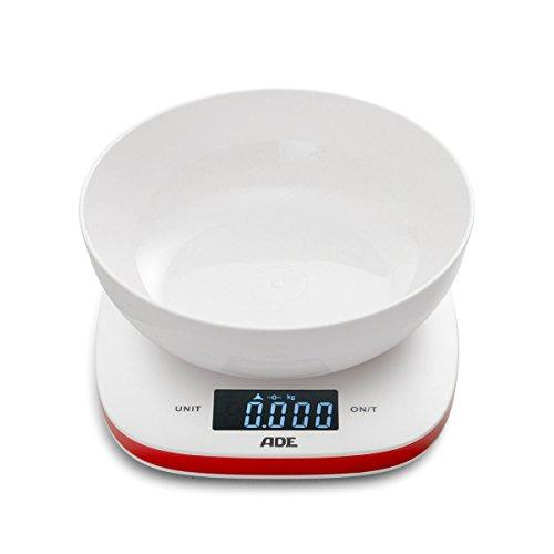 ADE Digitale Schüsselwaage KE 1412 Amelie. Elektronische Küchenwaage mit abnehmbarer Schüssel zum präzisen Wiegen bis 5 kg. Mit Zuwiegefunktion (Tara) und Sensor-Touch. Inkl. Batterie. Weiß