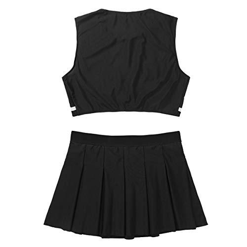 dPois Damen Cheerleading Kostüm Schuluniform Crop Top und Minirock Amerikanisch Cosplay Outfits Erwachsene Tanzbekleidung Bauchfrei Schwarz Small