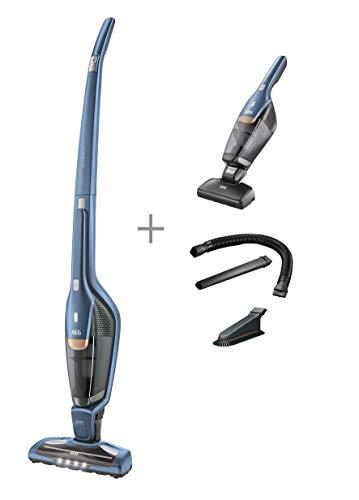 AEG Ergorapido CX7-2-I360 2in1 Akku-Staubsauger (beutellos, inkl. Tierhaardüse und Zubehörset, bis zu 45 Min. Laufzeit, freistehend, 180° Drehgelenk, Bürstenreinigungsfunktion, LED-Frontlichter, blau)
