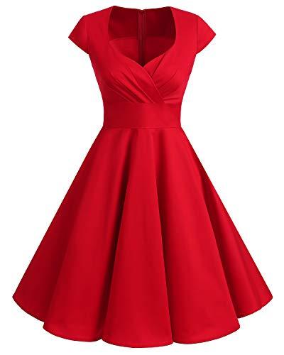 bbonlinedress 1950er Vintage Retro Cocktailkleid Rockabilly V-Ausschnitt Faltenrock Red M