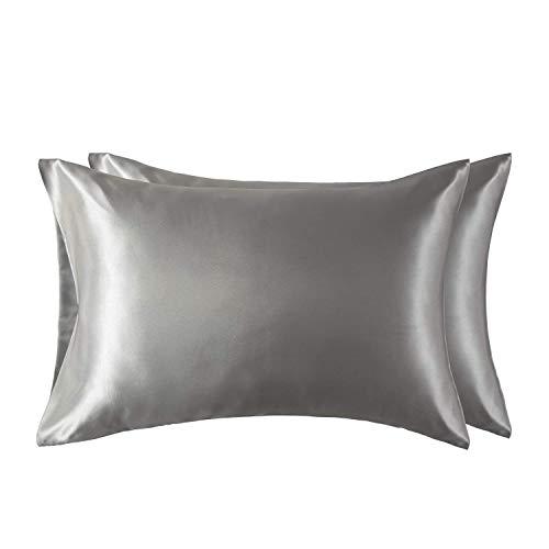 Bedsure Satin Kissenbezug grau 40x80 Doppelpack, seidig Kopfkissenbezug 40 x 80 cm Haar- und Hautpflege, Kissenbezüge Kissenhülle in 2er Set, Silky Pillow case for Hair