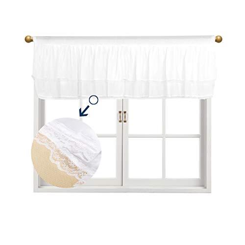 Fulu Bro Fenster Volant Chiffon Zwei Wege Stretch Spandex Weiß Layered Querbehang für Windows, 52von 40,6cm