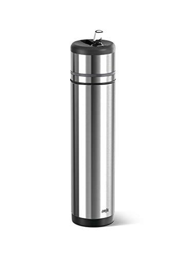 Emsa 509242 Isolier-Trinkflasche, Mobil genießen, 700 ml, Integrierter Trinkstutzen, Schwarz-Anthrazit, Mobility
