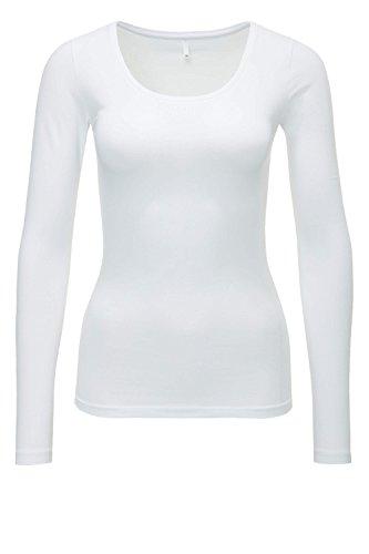 ONLY Damen Langarmshirt onlLIVE LOVE NEW LS O-NECK TOP NOOS Weiß (White)), 36 (Herstellergröße: S)
