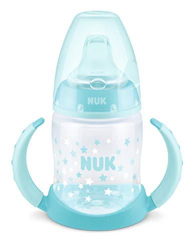 Nuk First Choice Trinklernflasche, Silikon-Trinktülle, 6-18 Monate, 150 ml, Sterne (Blau)