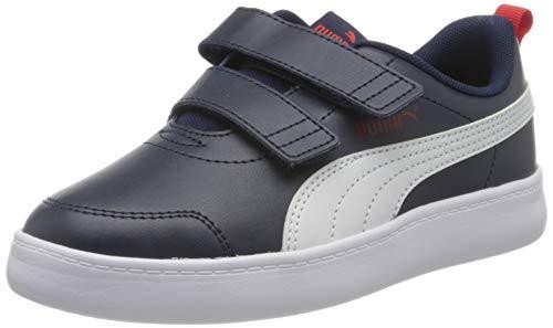 PUMA Unisex-Kinder Courtflex V2 V Ps Sneaker, Blau (Peacoat-High Risk Red), 34 EU