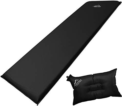 normani Selbstaufblasbare Luftmatratze inkl. Kissen zum Outdoor Camping Farbe Schwarz/Grau Größe 198 x 68 x 9 cm
