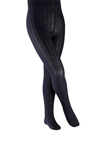 FALKE Kinder Strumpfhosen Classic Rib - Baumwollmischung, 1 Stück, Blau (Dark Marine 6170), Größe: 110-116